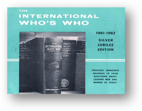 THE INTERNATIONAL WHO'S WHO. 1962 РІК